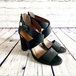 Tommy Hilfiger Black Leather Sandals Size 8